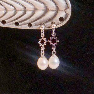 Silver Tone Genuine Pearl Drop Pierced Earrings